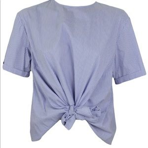 Zara blue and white blouse